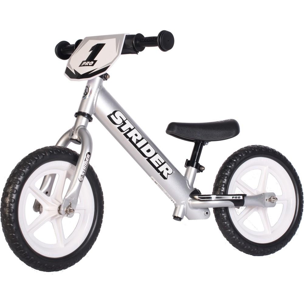 Strider Pro 12 34 Kids 39 Balance Bike Silver