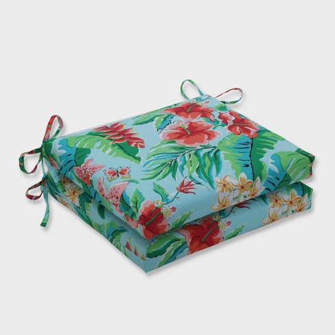 2pk Tropical Paradise Squared Corners Outdoor Seat Cushions Blue - Pillow Perfect - image 1 of 1