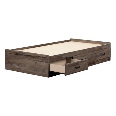 Twin Ulysses Mates Bed with 3 Drawers Fall Oak - South Shore