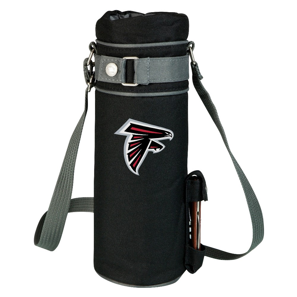 Atlanta Falcons - Wine Sack Beverage Tote by Picnic Time (Black) Those who enjoy wine will appreciate the style and simplicity of the Wine Sack, an insulated single-bottle tote with an adjustable shoulder strap. It features a stainless steel waiter-style corkscrew conveniently stored in its own secure pocket. The Wine Sack is made of polyester canvas with complementing brown trim. The tote is fully-insulated to keep your wine at the perfect temperature until you're ready to uncork it. Perfect for any occasion. When you'd like to bring your own wine to share, let the Wine Sack help you take it there! Color: Atlanta Falcons.