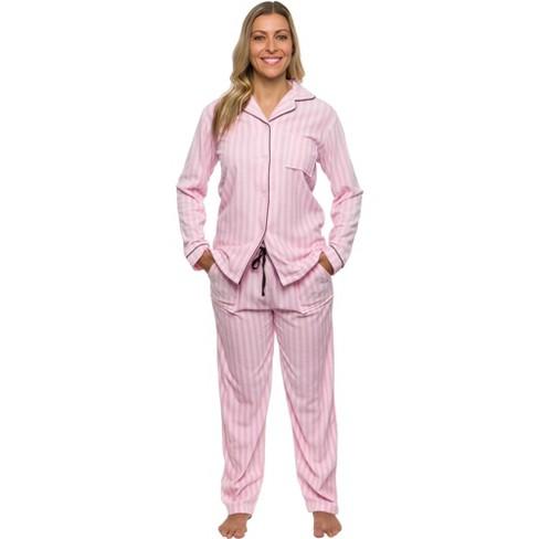 Silver Lilly - Women's Fleece Striped Pajama Set - image 1 of 4