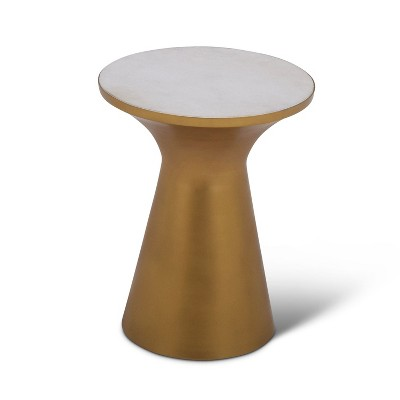 Jaipur Round End Table Brass/Gold and Marble - Steve Silver
