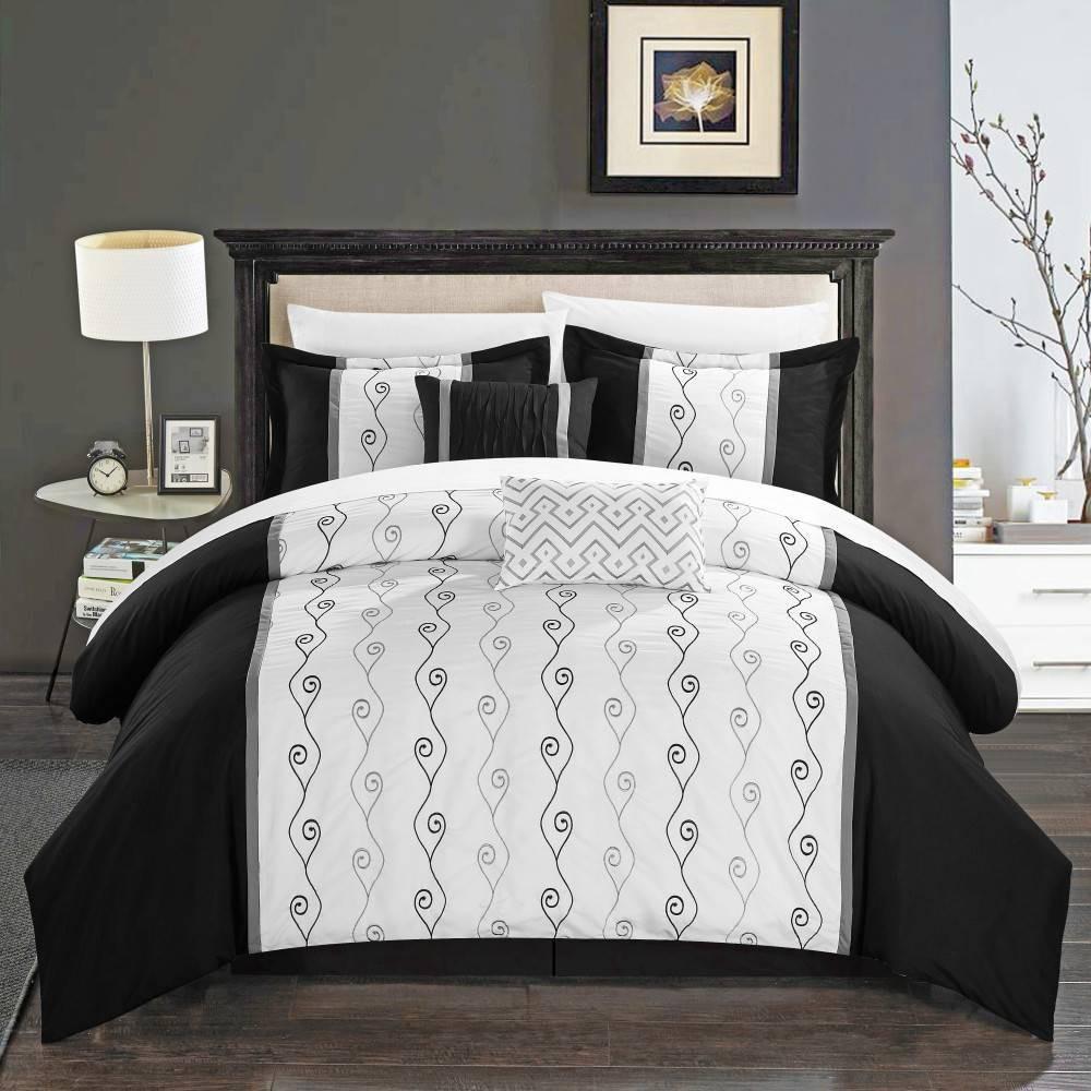 Chic Home Design Queen 6pc Yohan Comforter & Sham Set Black