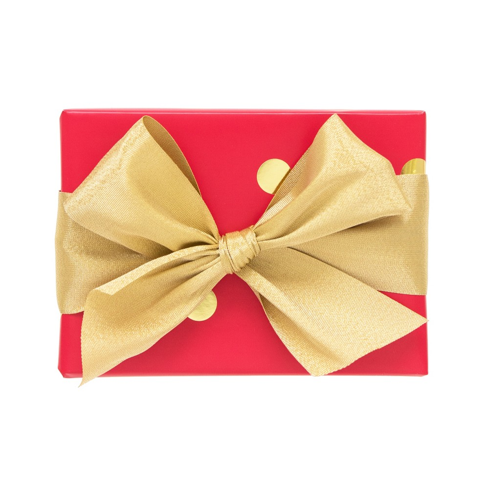 Red with Gold Polka Dot Gift Wrap, Single Roll - sugar paper