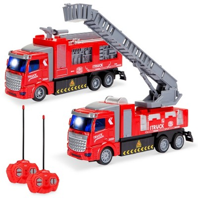 Best Choice Products 2-Pack Remote Control Fire Truck Toy RC Cars with LED Lights, 2 Controllers for Kids & Boys