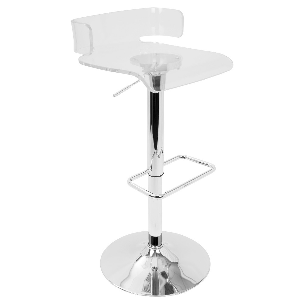Pride Contemporary Adjustable Barstool - Clear Acrylic - Lumisource