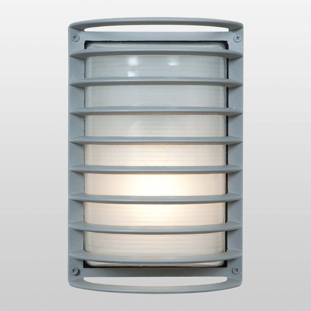 Image of 11 Bermuda Outdoor Wall Light with Ribbed Frosted Glass Shade Gray - Access Lighting, Satin