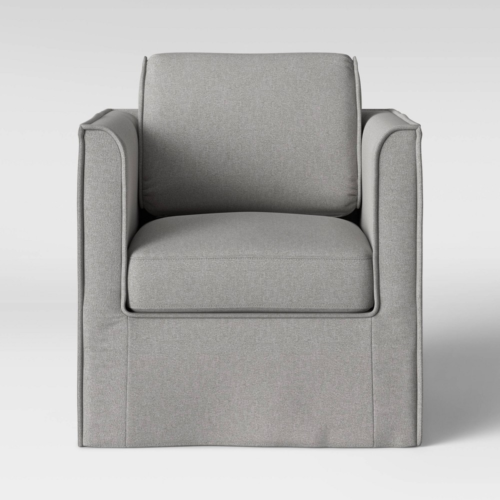 Astounding Dundalk Swivel Slip Cover Chair Gray Threshold Creativecarmelina Interior Chair Design Creativecarmelinacom