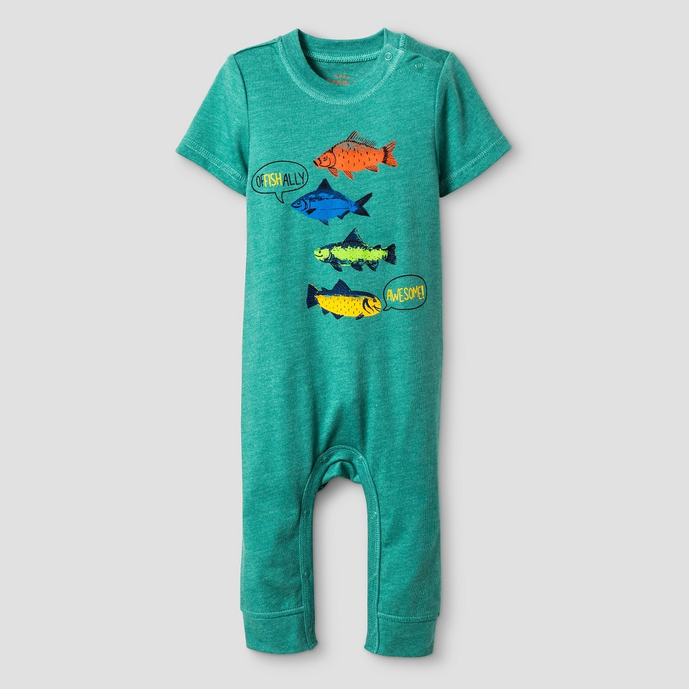 Baby Boys' Short Sleeve Awesome Romper - Cat & Jack Green 6-9M, Northern Pine