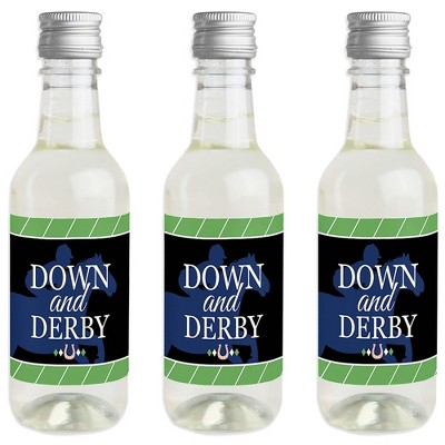 Big Dot of Happiness Kentucky Horse Derby - Mini Wine and Champagne Bottle Label Stickers - Horse Race Party Favor Gift for Women and Men - Set of 16