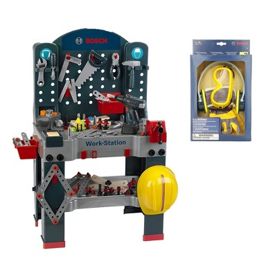 Theo Klein Bosch Jumbo Workbench Workstation Premium Children's Toy Toolset with Safety Accessory Set for Ages 3 Years and Up