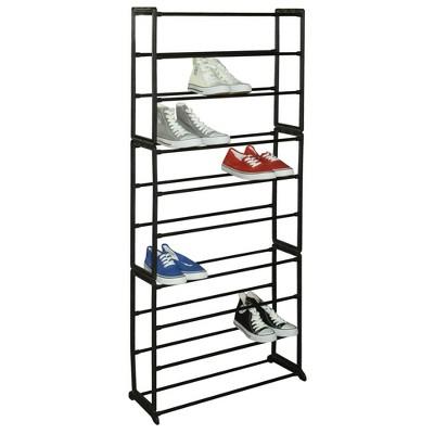 Home Basics Easy Assemble Space-Saving 30 Pair Shoe Tower Multi-Purpose Storage Rack, Black