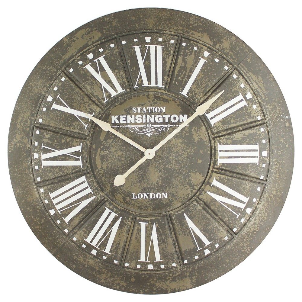 "Image of ""40"""" Round Wall Clock Distressed Iron - Yosemite Home Decor"""