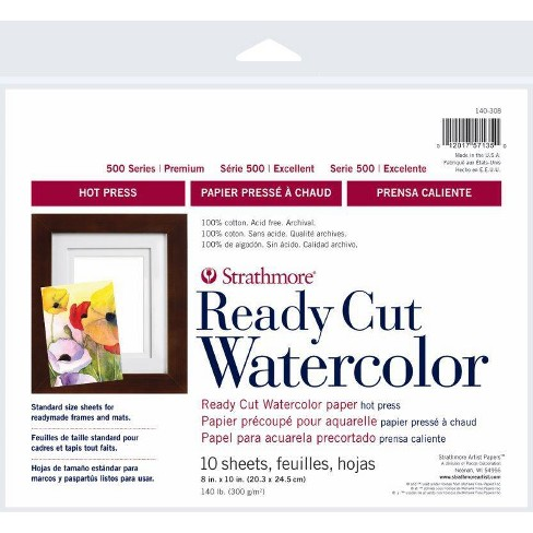 Strathmore Ready Cut Watercolor Paper, Hot Press, 8 x 10 Inches, 10 sheets