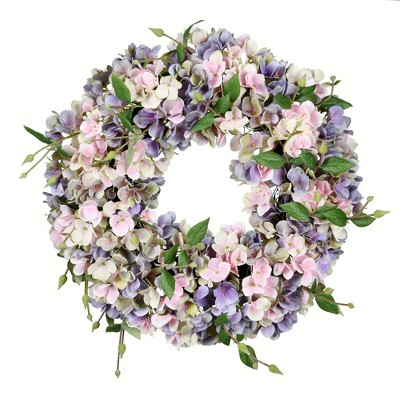 "Vickerman 18"" Artificial Blue and Pink Hydrangea Wreath."