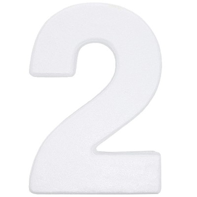 12 In Large Foam Styrofoam Number 2 Foam Number for Crafts School Projects Birthday Wedding Events