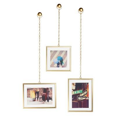 Fotochain Photo Display Frames Brass 3pk - Umbra