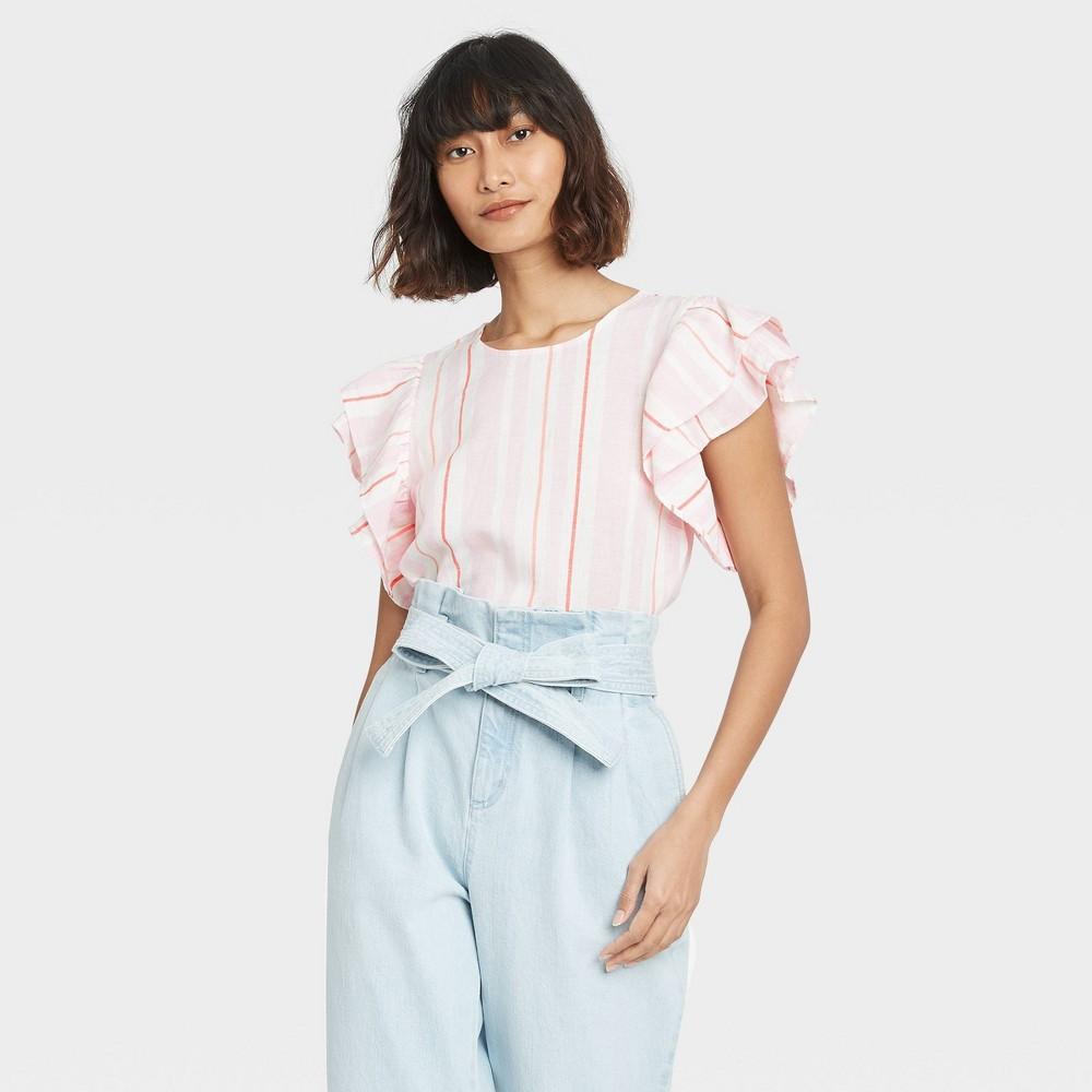 Women 39 S Multi Striped Ruffle Short Sleeve Linen Top A New Day 8482 Pink L