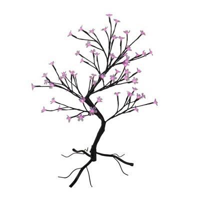 "Northlight 25"" Pre-Lit Japanese Sakura Blossom Flower Artificial Tree - Pink and Purple LED Lights"