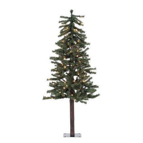 4ft pre lit artificial christmas tree slim natural alpine with 100 clear lights