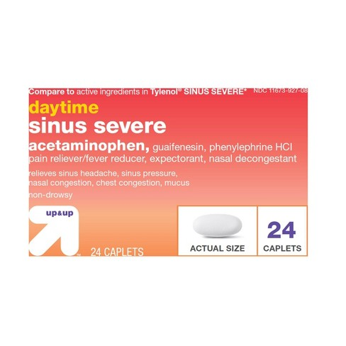 Acetaminophen Sinus Severe Pain & Congestion Relief Caplets - 24ct - Up&Up™ - image 1 of 1