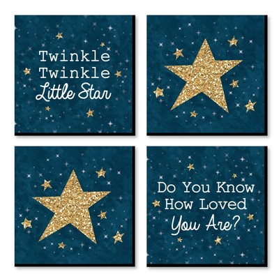Big Dot of Happiness Twinkle Twinkle Little Star - Kids Room, Nursery & Home Decor - 11 x 11 inches Nursery Wall Art - Set of 4 Prints for baby's room