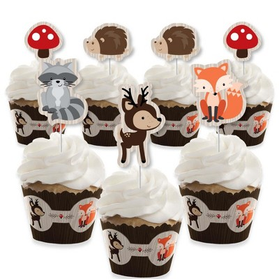 Big Dot of Happiness Woodland Creatures - Cupcake Decoration - Baby Shower or Birthday Party Cupcake Wrappers and Treat Picks Kit - Set of 24