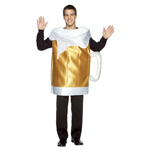 Adult Beer Mug Costume Gold/White - One Size Fits Most - image 1 of 1
