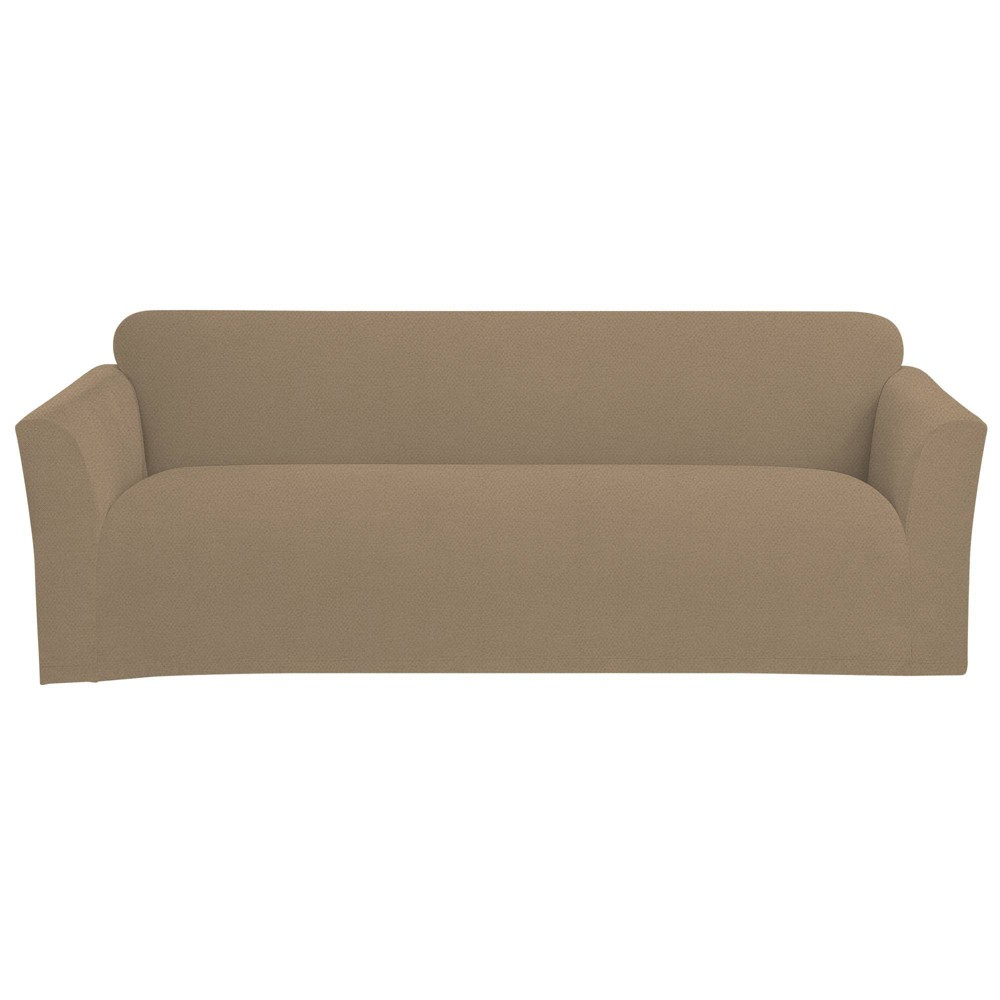 Stretch Pindot Sofa Slipcover Taupe Sure Fit