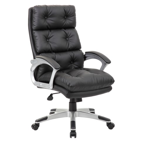 Executive Button Tufted High Back Leather Chair Black - Boss - image 1 of 4