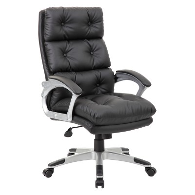 Executive Button Tufted High Back Leather Chair Black   Boss : Target