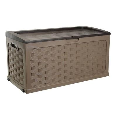 Rattan Deck Box 88 Gallon - Mocha Brown - Starplast