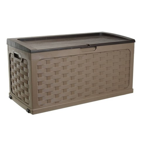 Rattan Deck Box 88 Gallon - Mocha Brown - Starplast - image 1 of 4