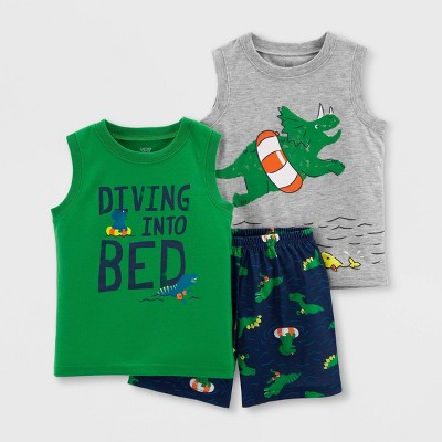 Toddler Boys' 3pc Dino Pajama Set - Just One You® made by carter's Green/Gray