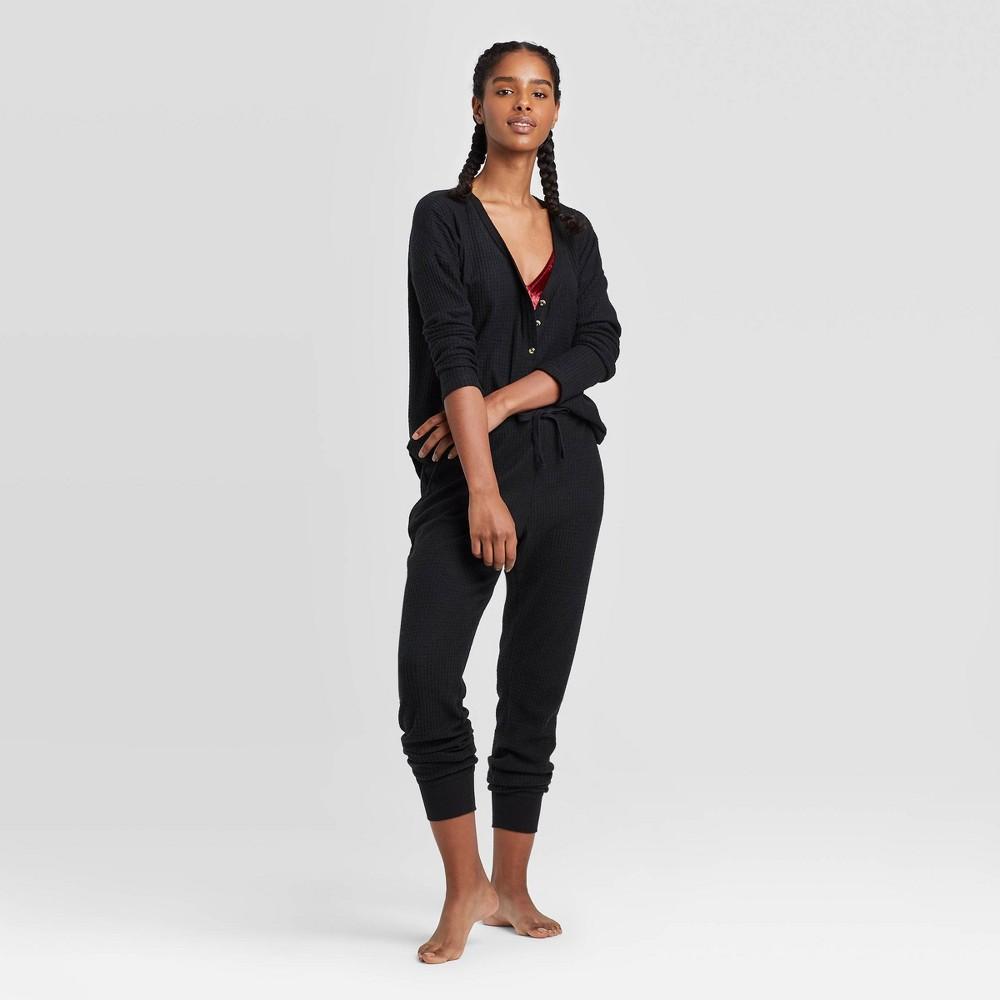 Women's Thermal Lounge Top – Colsie Black M, Women's, Size: Medium