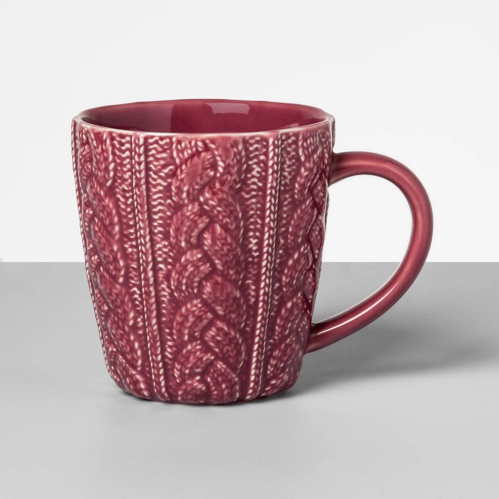 Image of 13oz Stoneware Embossed Sweater Mug Red - Opalhouse