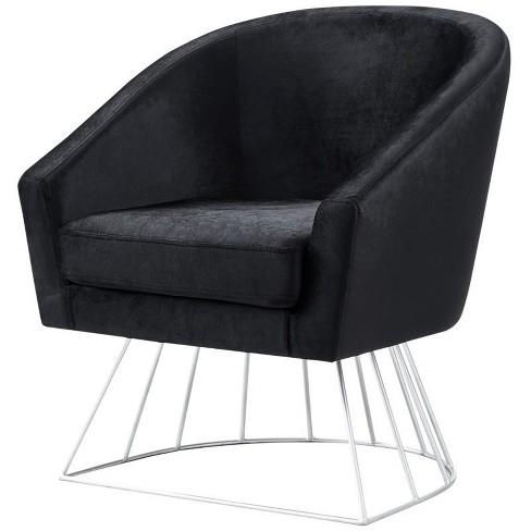 Leo Black Velvet Accent Chair - Silver Metal Base - Barrel - Tufted in Black - Posh Living - image 1 of 3
