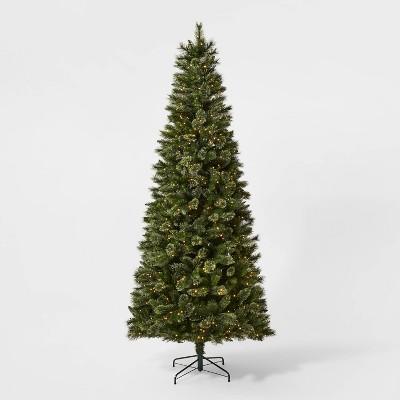 9ft Pre-lit Virginia Pine Artificial Christmas Tree Warm White LED Garland Lights - Wondershop™