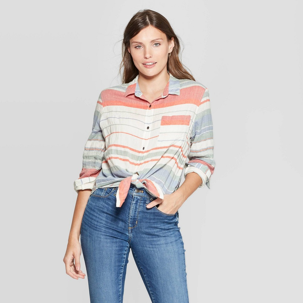 Women's Striped Long Sleeve Collared Button-Down Front Shirt - Universal Thread XL, Multicolored
