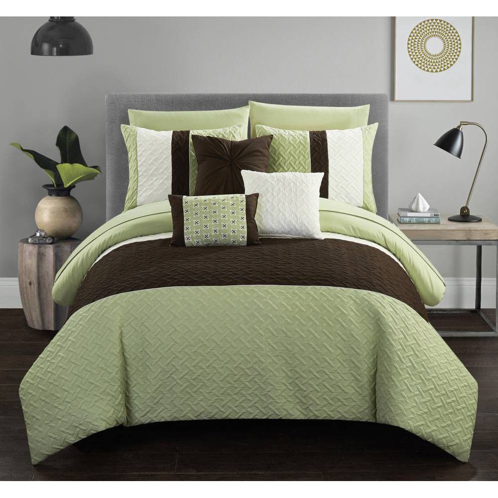 Queen 10pc Arza Bed In A Bag Comforter Set Green Chic Home Design