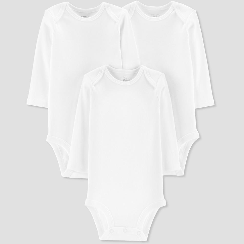Baby 3pk Long sleeve Bodysuit - Little Planet by Carter's White 6M, Infant Unisex