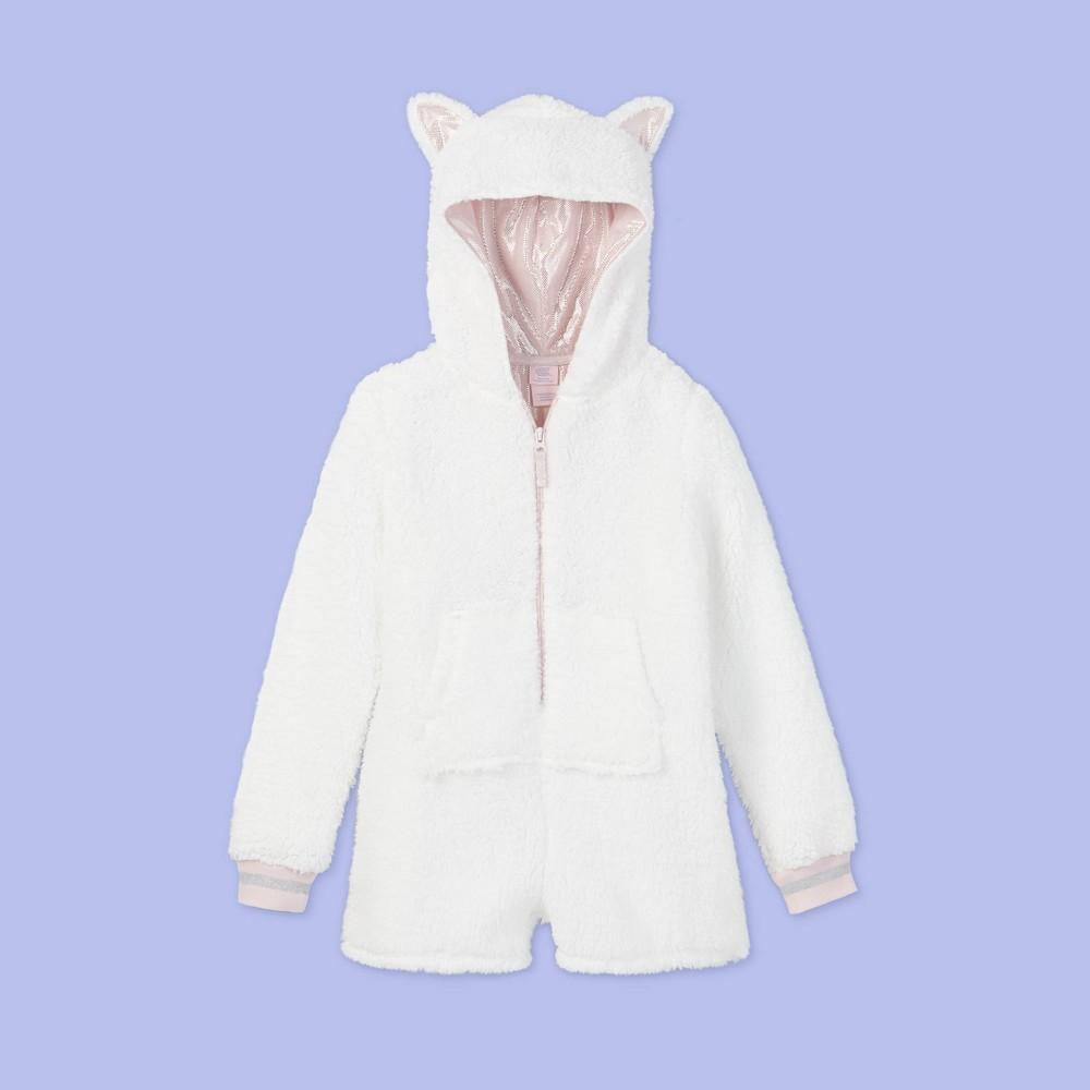 Girls 39 Cat Print Pajama Romper More Than Magic 8482 White Xl Plus