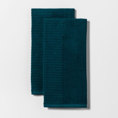 2pk Rib Terry Kitchen Towel Teal - Project 62™