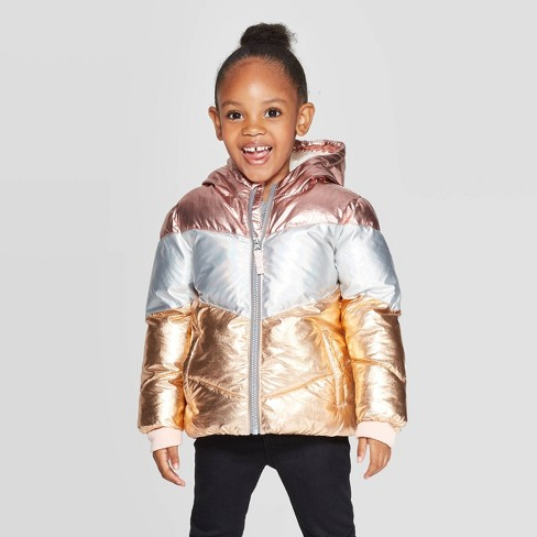 Toddler Girls' Pieced Puffer Jacket - Cat & Jack™ Pink - image 1 of 3