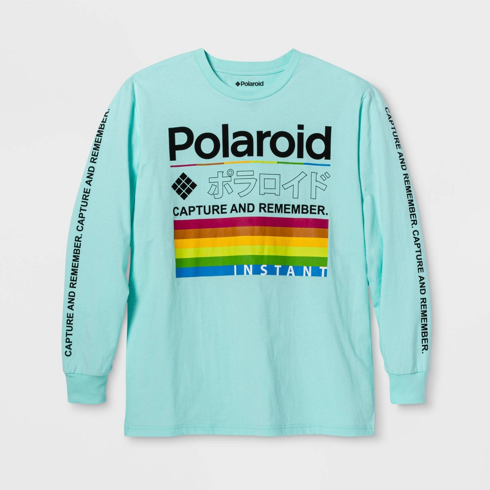 Image of Men's Polaroid Capture And Remember Long Sleeve Graphic T-Shirt - Mint 2XL, Men's, MultiColored