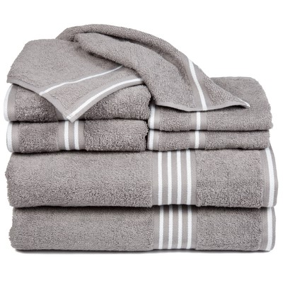 8pc Striped Towels Set Silver - Yorkshire Home