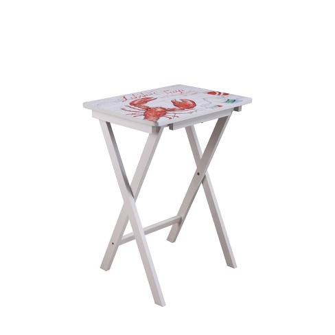 Wooden Folding Accent Table Nautical
