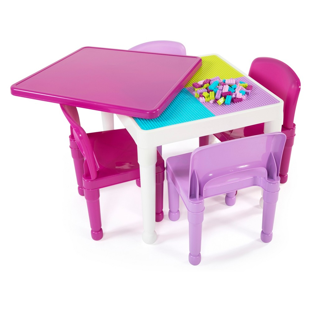 Image of 2 - In - 1 Square Activity Table With 4pc Chairs Pink/Purple - Tot Tutors