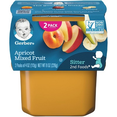 Gerber Sitter 2nd Foods Apricot Mixed Fruit Baby Meals Tubs - 2ct/4oz Each