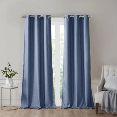 """Set of 2 (63""""x42"""")Aberdeen Faux Silk Blackout Curtain Panels Blue"""